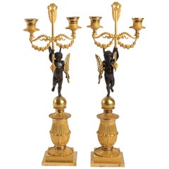 Pair of Candelabra in Gilt Bronze and Patinated, 19th Century