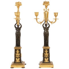 Pair Of Candelabra, Restoration Period, Double Patina, Gilt Bronze