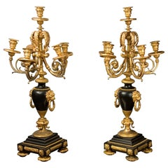 Pair of Candelabras, Belgian Bronze and Marble, 19th Century