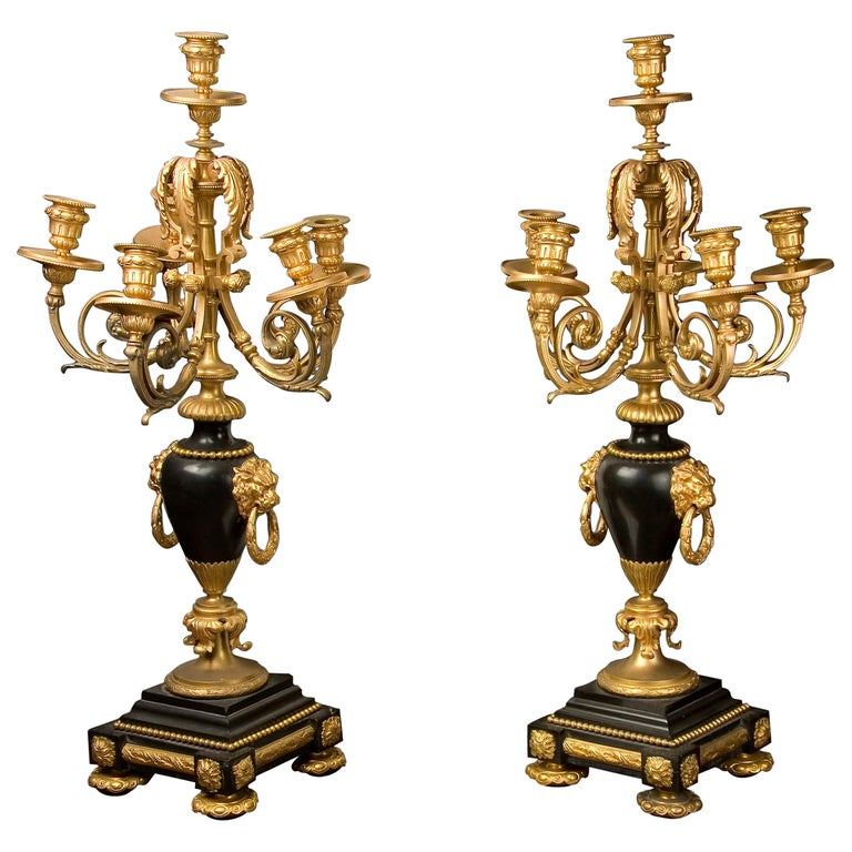 Pair of Candelabras, Belgian Bronze and Marble, 19th Century For Sale