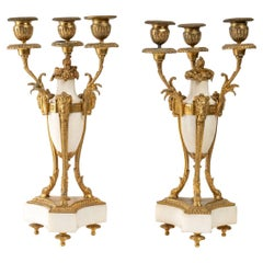 Pair of Candelabras in Gilt Bronze and White Marble
