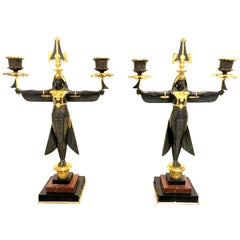 Pair of Candelabras Isis Egypt Godess Marble Granite Bronze, France
