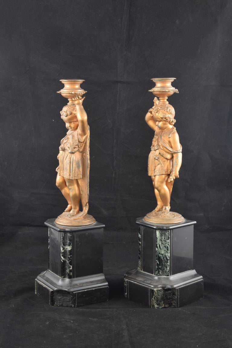 Neoclassical Pair of Candleholders, Calamine, Marble, France, 19th Century For Sale