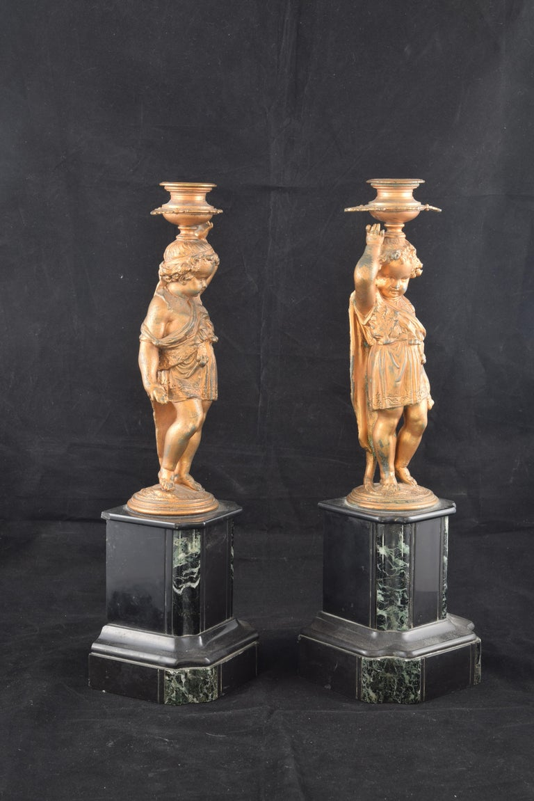 French Pair of Candleholders, Calamine, Marble, France, 19th Century For Sale