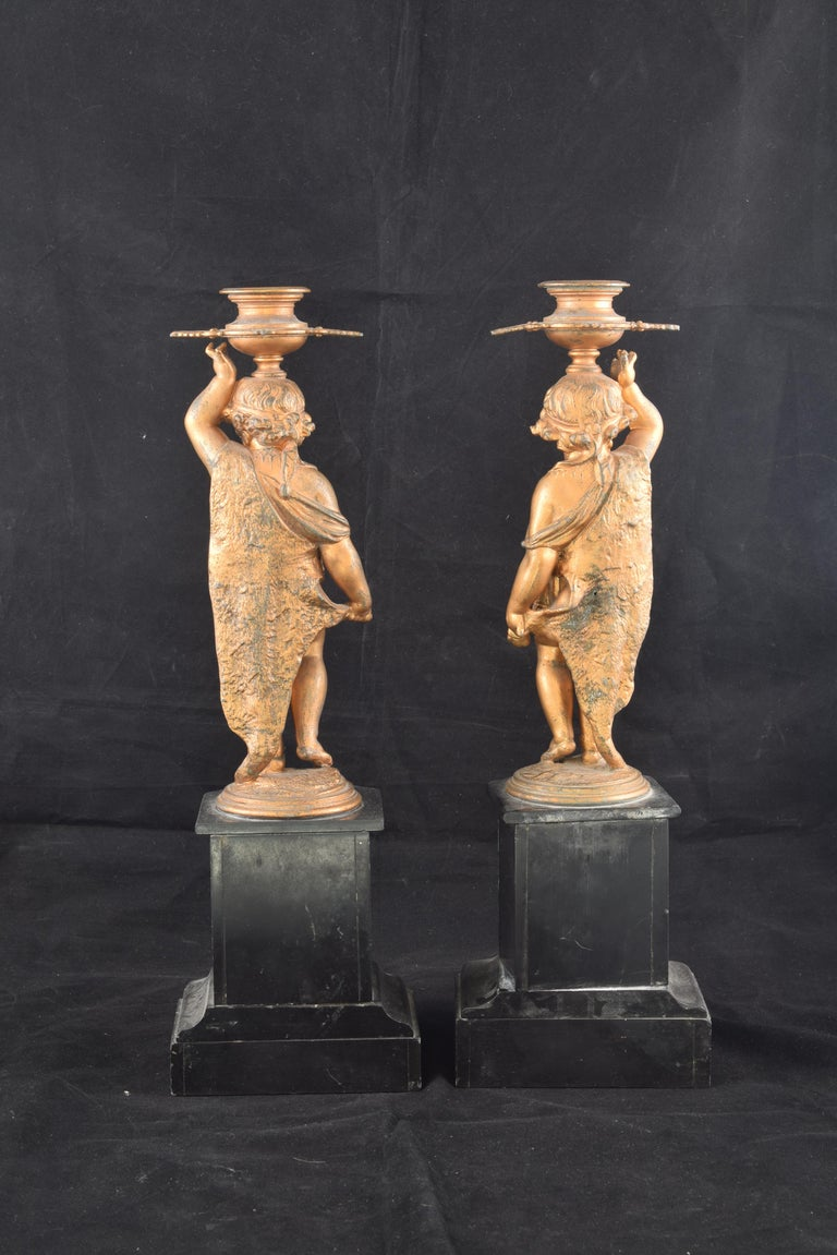 Pair of Candleholders, Calamine, Marble, France, 19th Century In Fair Condition For Sale In Madrid, ES