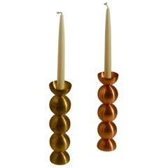 Pair of Candle Holders in Brass and Copper