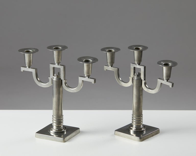 Scandinavian Modern Pair of Candle Sticks Anonymous, for G.A.B, Sweden, 1930 For Sale