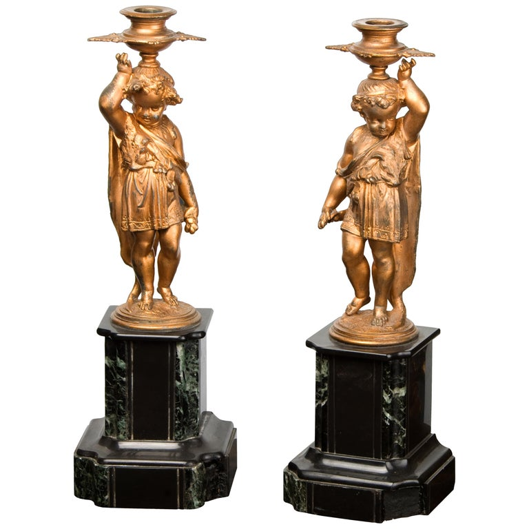 Pair of Candleholders, Calamine, Marble, France, 19th Century For Sale