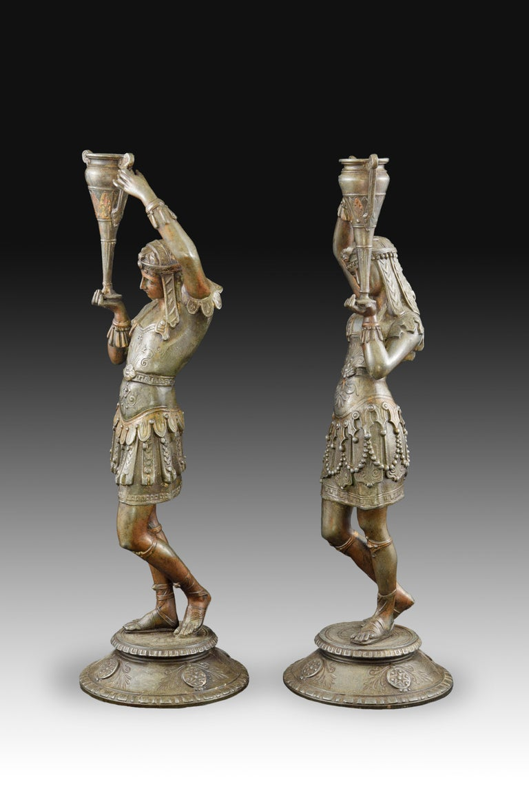 Neoclassical Pair of Candleholders, Calamine, Possibly France, 19th Century For Sale