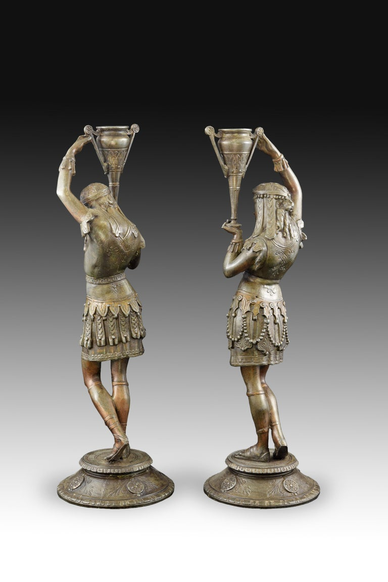 European Pair of Candleholders, Calamine, Possibly France, 19th Century For Sale