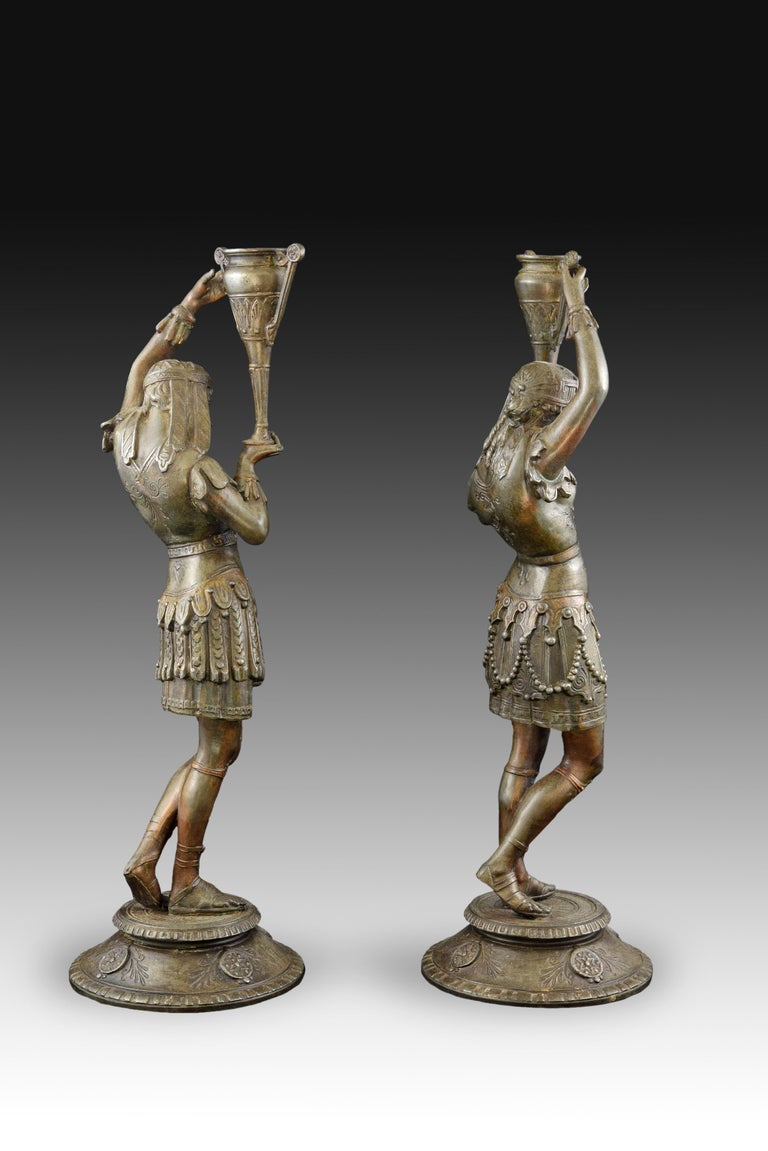 Pair of Candleholders, Calamine, Possibly France, 19th Century In Good Condition For Sale In Madrid, ES