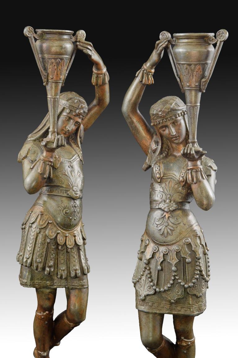 Other Pair of Candleholders, Calamine, Possibly France, 19th Century For Sale