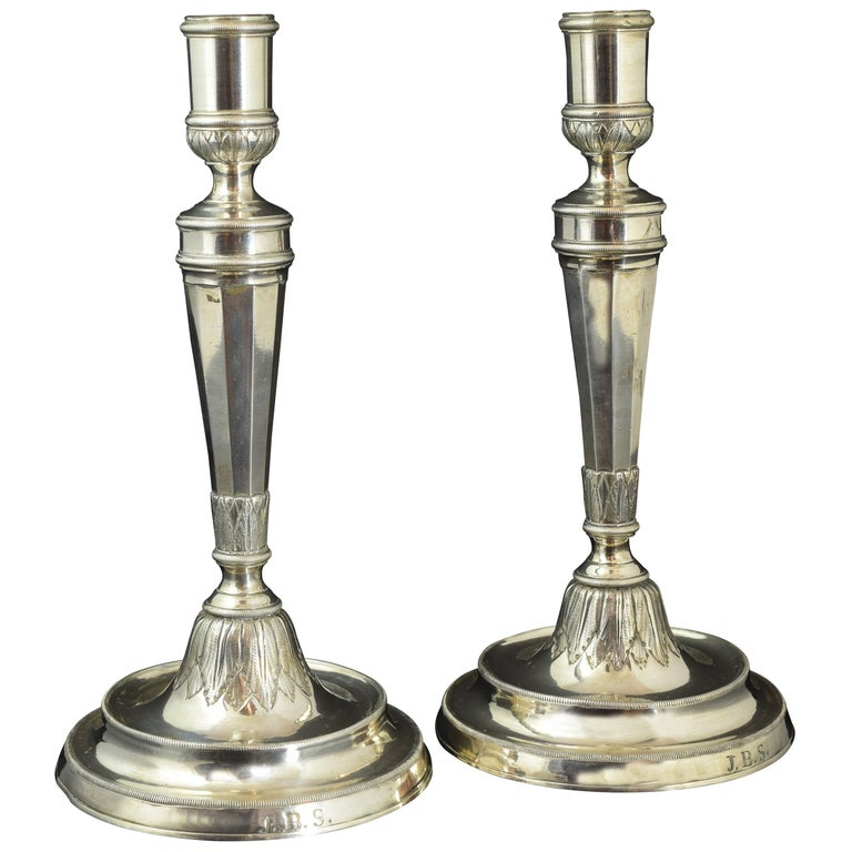Pair of Candleholders, F. Roca, Barcelona, Spain, 19th Century For Sale