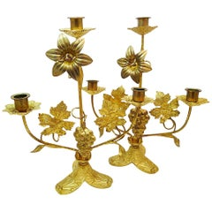 Pair of Candleholders Thanksgiving Brass, France, 19th Century