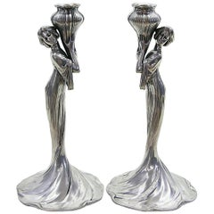 Pair of Candlesticks by Achille Gamba, Italy, First Half of the 20th Century