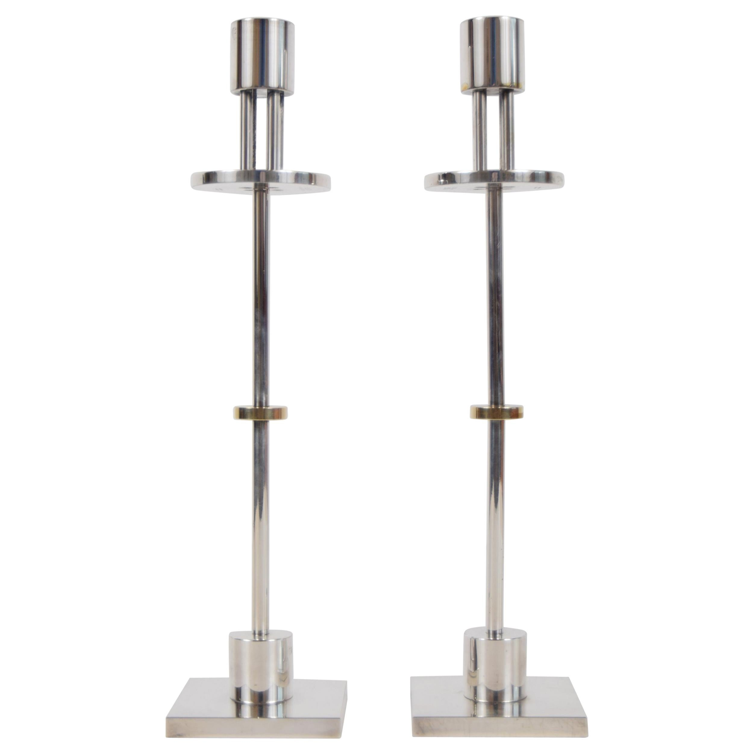 Pair of Candlesticks Designed by Ettore Sottsass