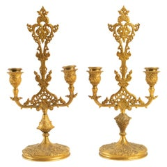 Pair of Candlesticks Gilt Bronze Period, 19th Century, Signed De Barbedienne