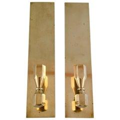 Pair of Candlesticks in Brass, Scandinavian Design