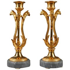 Pair of Candlesticks in Ormolu with Turquin Marble Base
