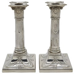 Pair of Candlesticks, London 1909, 925 Sterling Silver, Hallmarked