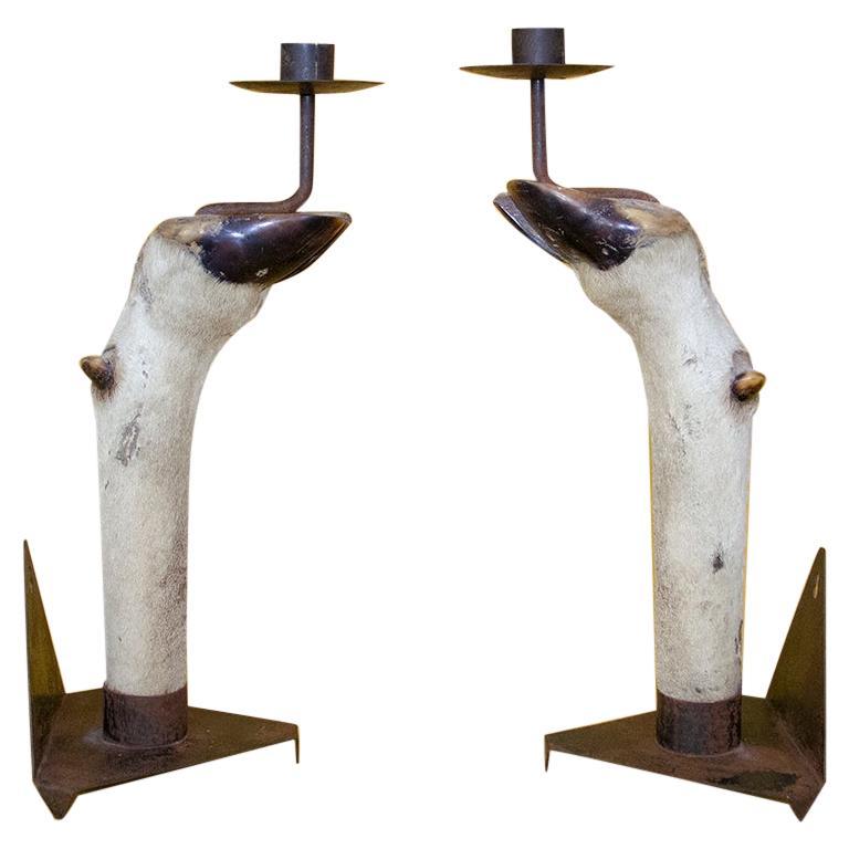 Pair of Candlesticks Mounted on Antelope Feet, circa 1940