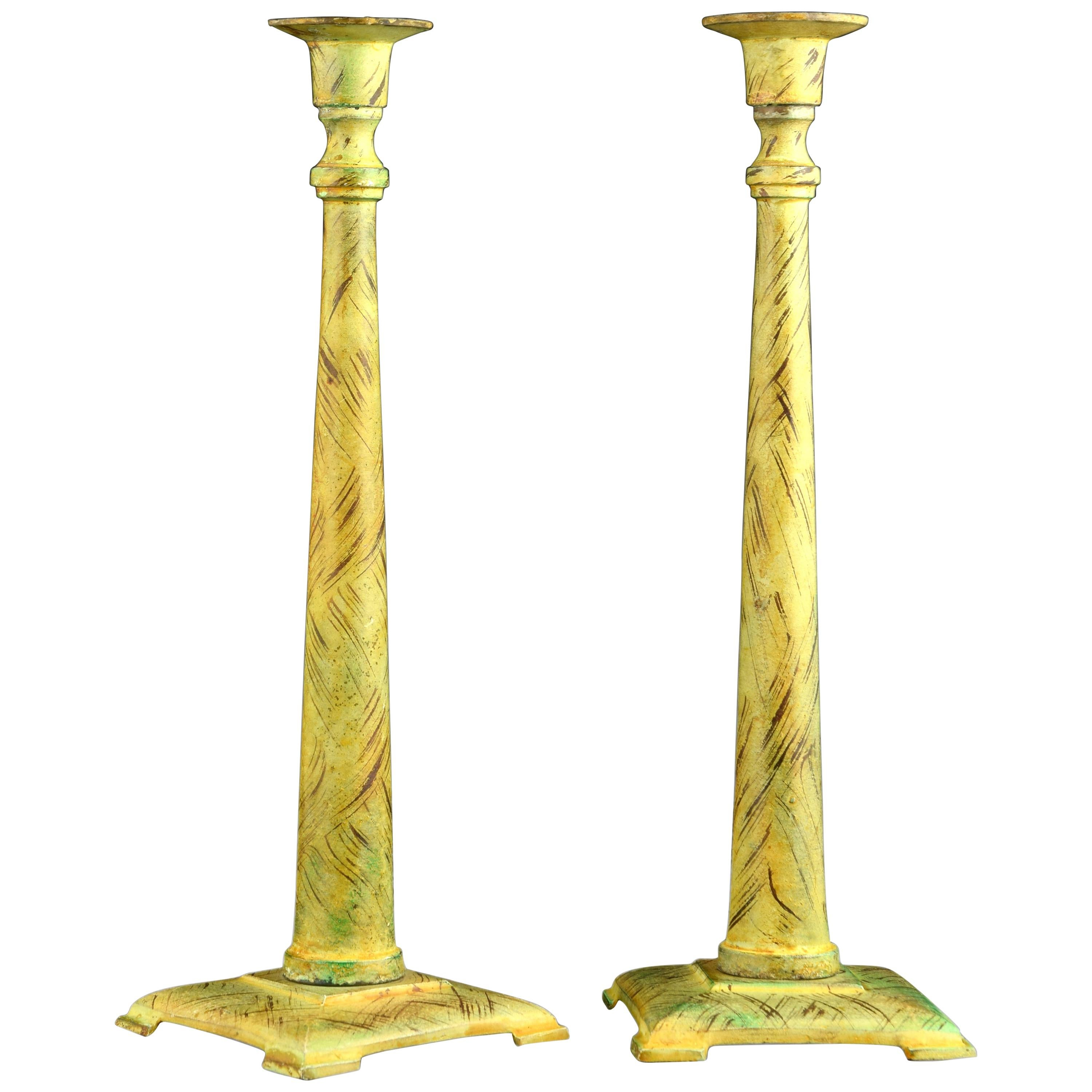 Pair of Candlesticks or Candleholders, Green Patinated Bronze