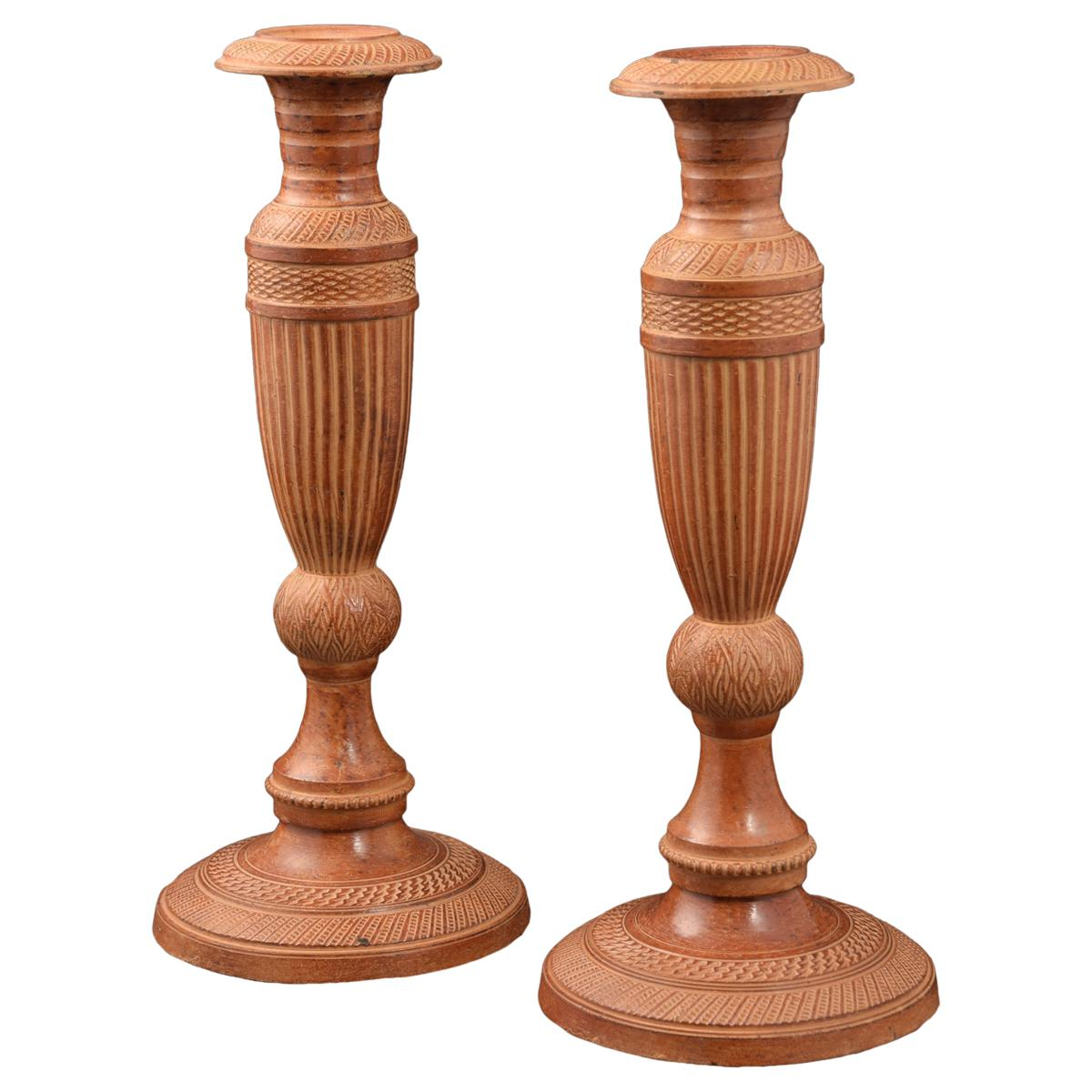 Pair of Candlesticks or Candleholders, Patinated Bronze