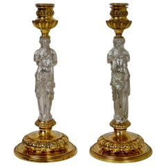 Pair of Candlesticks Signed Barbedienne, 19th Century