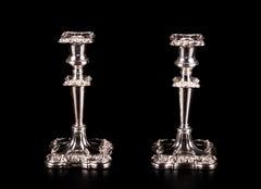 """Paar Kerzenleuchter Silber Vergoldet """"Walker & Hall"""", 19. Jahrhundert, Englisch"""
