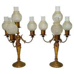 Pair of Candlesticks Table Lamp with Four Lights, 1960s