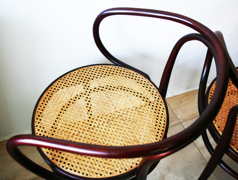 Pair of Cane and Bentwood Chairs after Thonet 209, 1950s For Sale 8