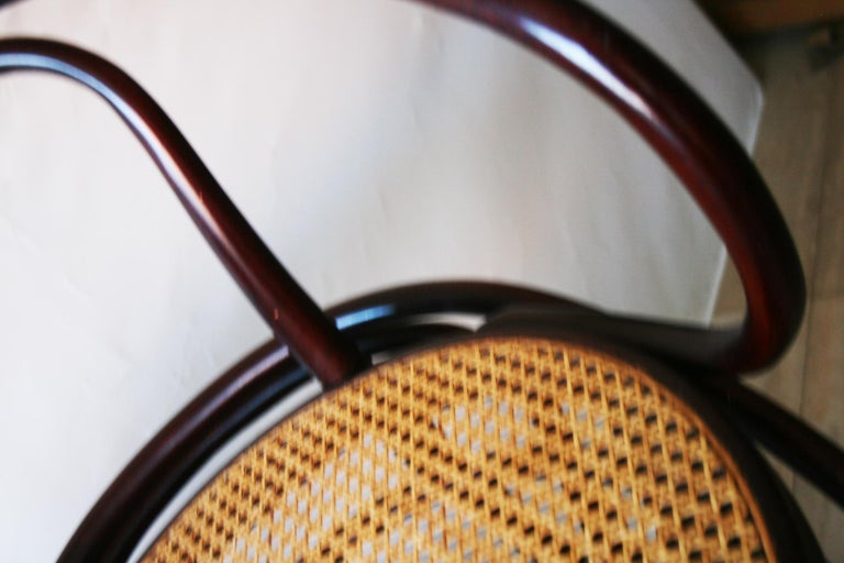 Pair of Cane and Bentwood Chairs after Thonet 209, 1950s For Sale 9