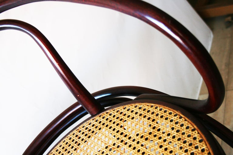 Pair of Cane and Bentwood Chairs after Thonet 209, 1950s For Sale 12