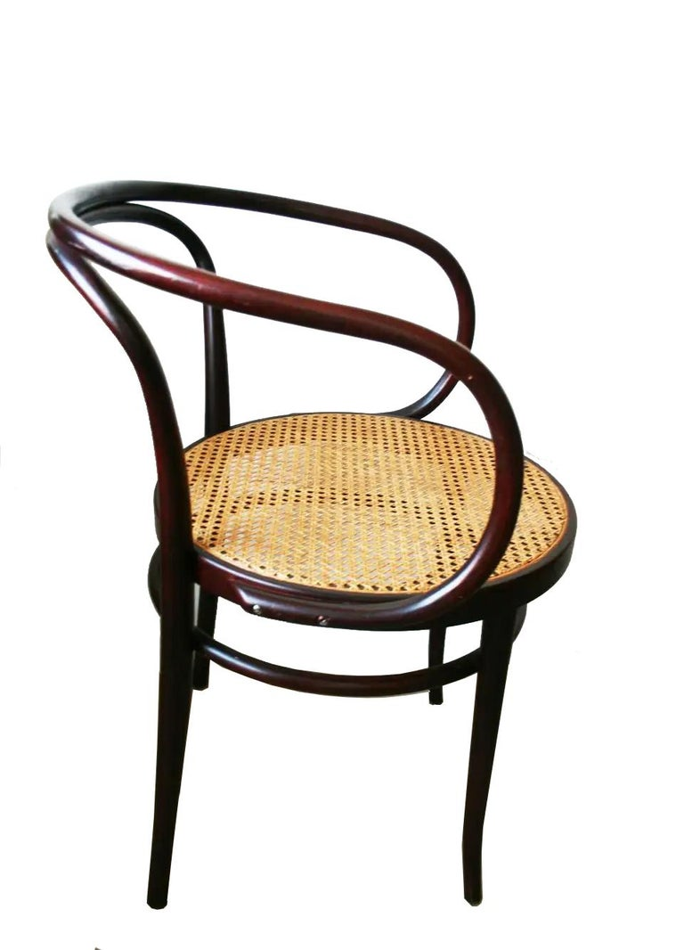 Pair of Cane and Bentwood Chairs after Thonet 209, 1950s For Sale 13
