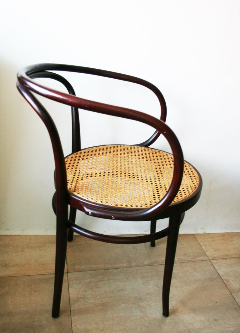 Pair of chairs after Thonet, from the years between 1955-1965.  This is Le Corbusier's favorite chair and one of the favorite designs of architects and designers.  Unfortunately it has no label but it is in perfect condition, with minimal wear