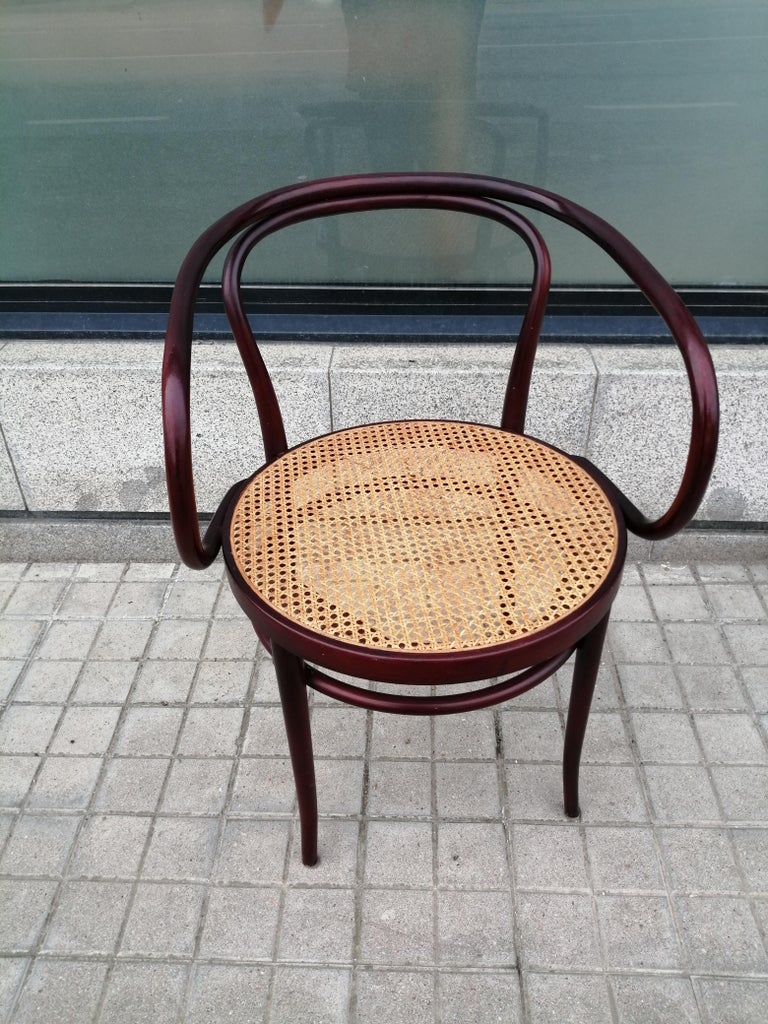 Mid-Century Modern Pair of Cane and Bentwood Chairs after Thonet 209, 1950s For Sale