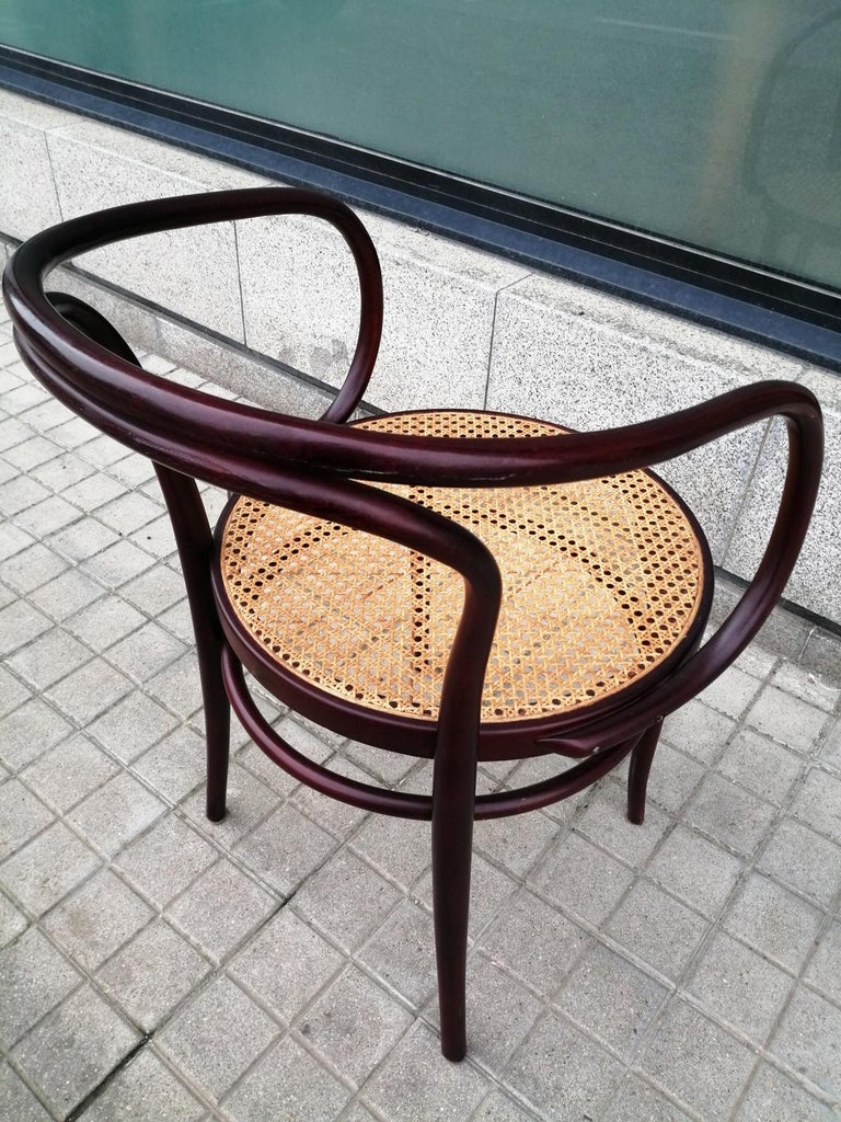 European Pair of Cane and Bentwood Chairs after Thonet 209, 1950s For Sale