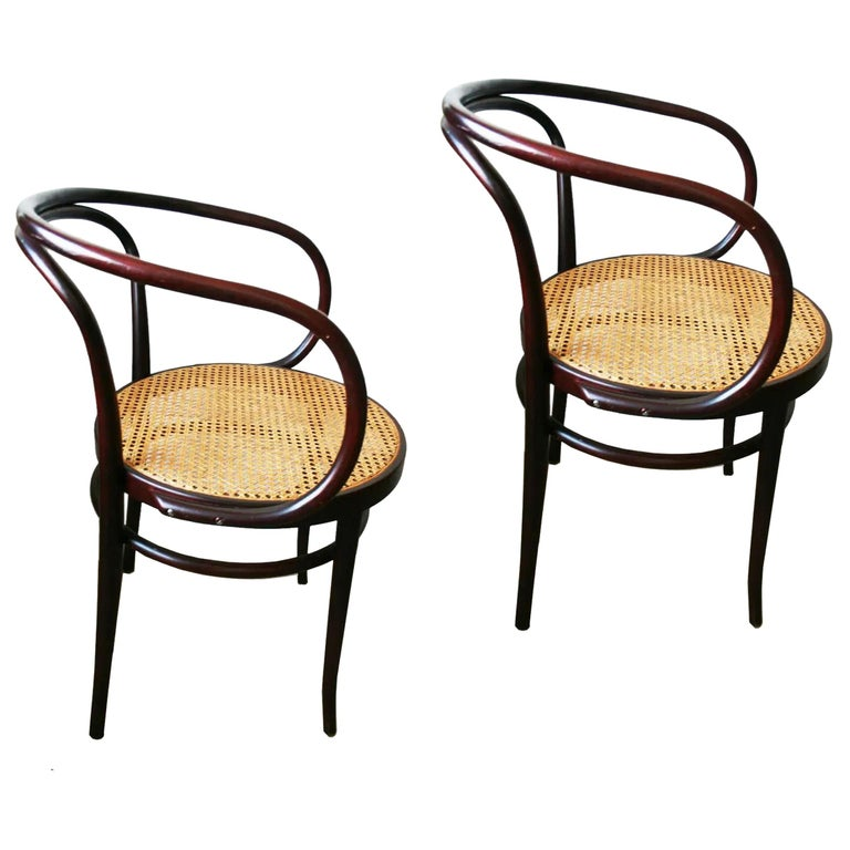 Pair of Cane and Bentwood Chairs after Thonet 209, 1950s For Sale