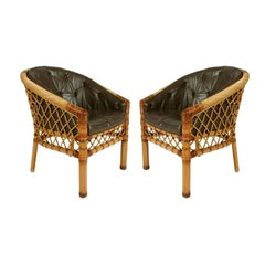 Pair of Cane and Leather Armchairs by Bielecky Bros. NYC