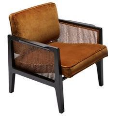 Pair of Cane and Velvet Lounge Chairs by Dunbar