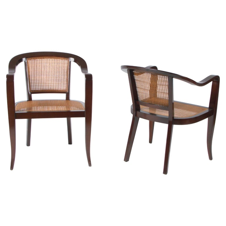 Pair of Cane and Walnut Edward Wormley Style Chairs For Sale