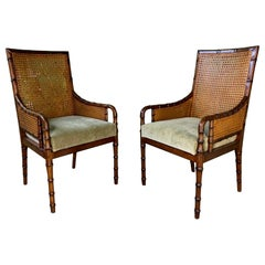 Pair of Cane Back Faux Bamboo Armchairs by Palecek