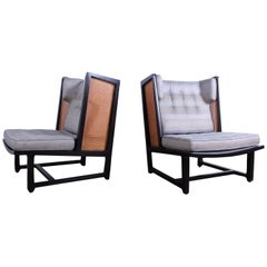 Pair of Cane Back Wing Chairs by Edward Wormley for Dunbar