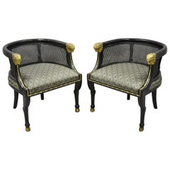Pair of Cane Barrel Back Ram's Head Black and Gold Club Lounge Chairs