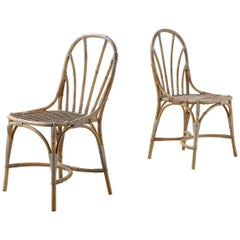 Pair of Bamboo & Rattan Chairs by Josef Frank