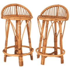 Pair of Cane Stools, Spain, circa 1970