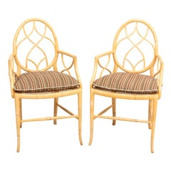 Pair of Cane Upholstered Armchairs
