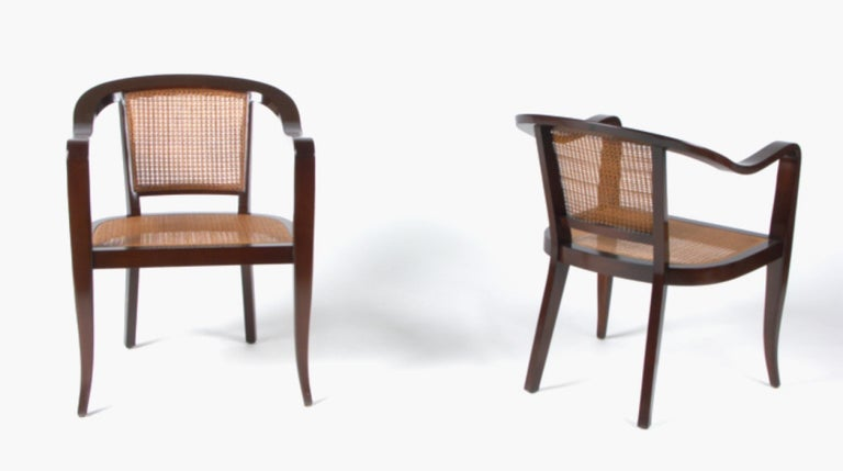 American Pair of Cane and Walnut Edward Wormley Style Chairs For Sale