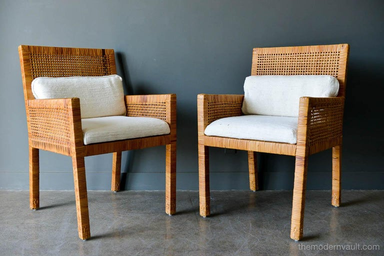 Mid-Century Modern Pair of Cane Wrapped Armchairs in the Style of Billy Baldwin, circa 1970 For Sale