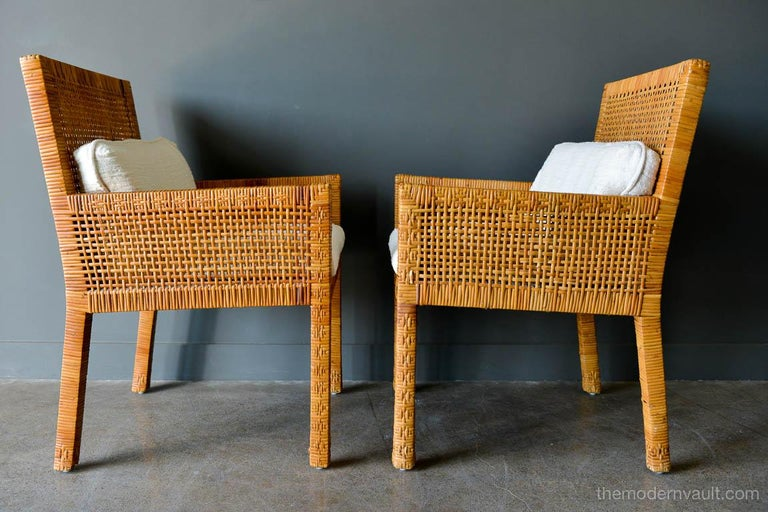 Pair of Cane Wrapped Armchairs in the Style of Billy Baldwin, circa 1970 In Good Condition For Sale In Costa Mesa, CA